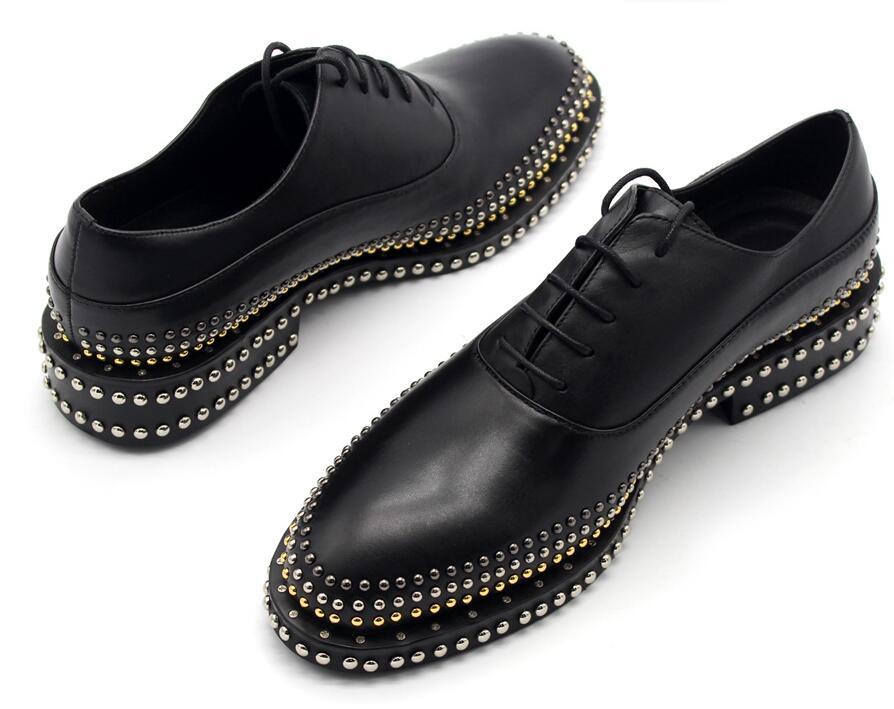 Punta Genuino Oxfords Negro Moda Los Gratis Casuales A Envío Remaches Hombres Mano De Zapatos Hecho Cuero La qT7Panv