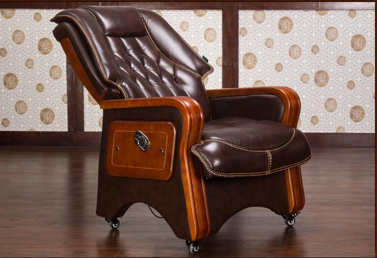 Real leather reclining chair. Solid wood four-legged computer chair. Fixed armrest leather art office chair.028 boss chair real leather computer chair home massage can lie in the leather chair solid wood armrest office chair 06