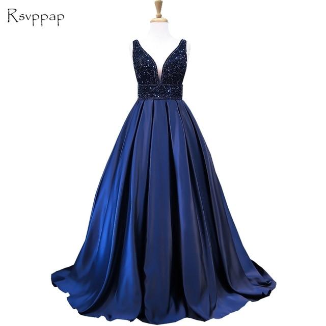Long Evening Dress 2018 Stunning V Neck Sleeveless Top Heavy Beaded