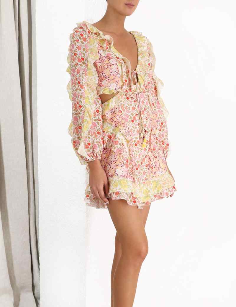 MIAOQING 2019 ボヘミア新しいカットウエスト v ネック女性 ZIM ため Lanc 長袖ミニドレスエレガントなビーチドレスファッション