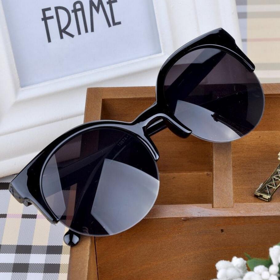 Kiváló minőségű 2017 új divat Retro tervező szuper kerek kör szemüveg macska szem félig-nélküli női napszemüveg szemüveg szemüveg