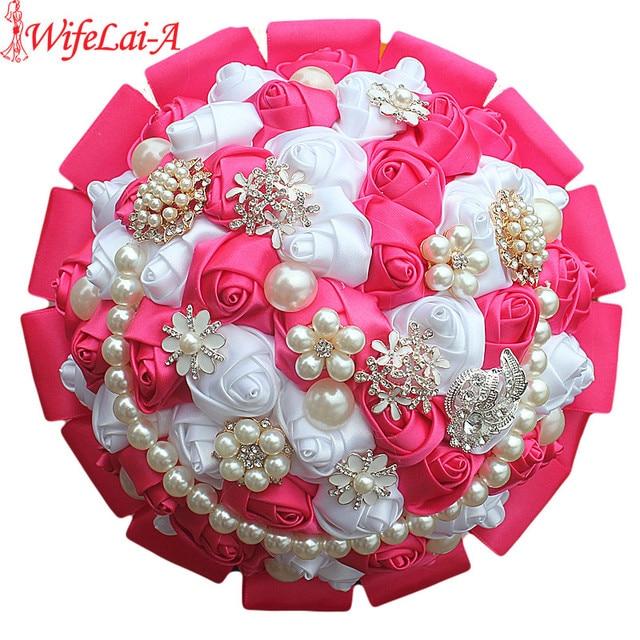 Aliexpress buy 100 handmade strass wedding bouquet new high 100 handmade strass wedding bouquet new high quality polyester flower bouquet de noiva hot pink mightylinksfo