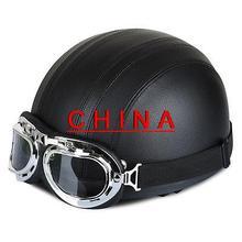Черный Мотоцикл Скутер ПУ Кожа Открытым Лицом Половина Шлем ж/Козырек + Очки *
