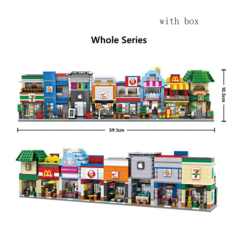 LOZ Mini Blocks Street Shop DIY Building Toys Cute Micro Store coffee Model Toy for Christmas Gift Kids Toys 1601-1608 loz mini block architecture city view scene christmas toy for children mini street model store shop bridal assembly toys 1636