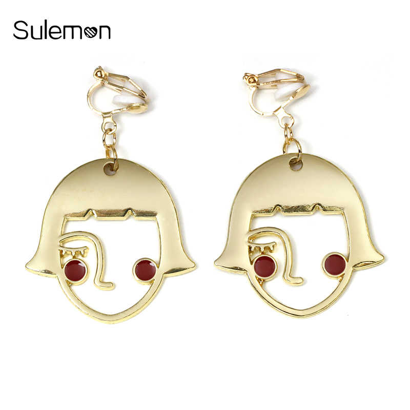 Trendy Face Earrings No Hole Ear Clip Lovely Girl Face Clip Earring Without Piercing Women Statement Earrings Jewelry CE288