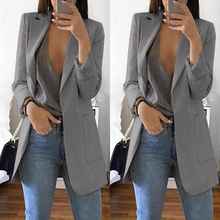 Casual Long Sleeve Solid Color Turn-down Collar Coat Lady Business Jacket Suit Coat Slim Top Women blazers Female 2019 W3