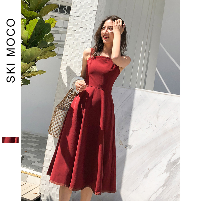Women Dress A Line Formal Party Dresses Luxury Summer Retro Ladies Sleeveless Knee Length Dress Wine