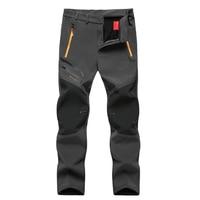 Plus Size 6XL Men Winter Waterproof Fleece Pants Outdoor Camping Climbing Soft Shell Skiing Trekking Hiking Sports Male Trousers