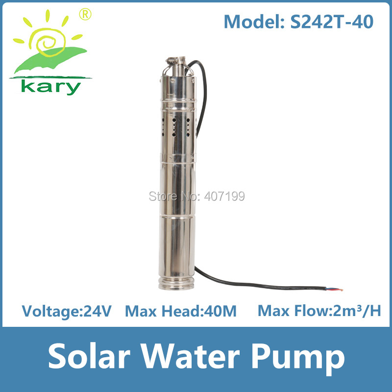 цена на Kary 3 inches 24v 36v DC brushless submersible solar powered water pump, 40m head 9GPM solar bore pump with MPPT controller