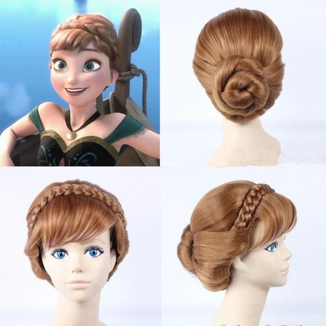 Ladies Girl Princess Anna Updo Weave Braid Bun Brown Costume Cosplay Wig  queen Kanekalon Fiber no lace Hair wigs cecaf0555213