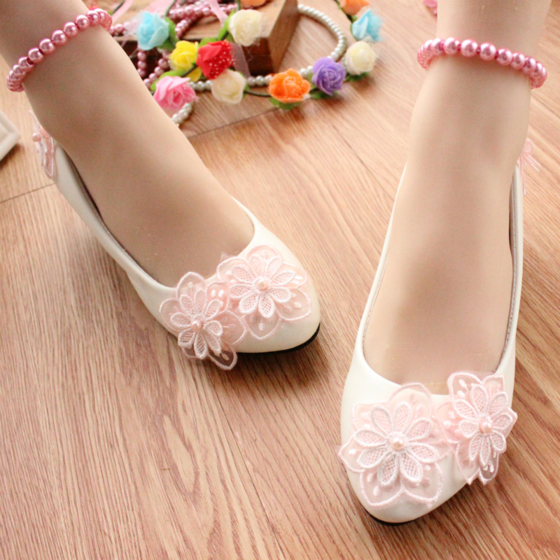 pink flower white low heeled performance shoes bridesmaid
