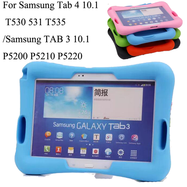 new product 4a8dd e46ce US $16.75 | Silicon Kids Baby Shock Proof Foam Stand Case For Samsung Tab 4  10.1 T530 531 T535/TAB 3 10.1 P5200 P5210 P5220 Cover+ Pen-in Tablets & ...