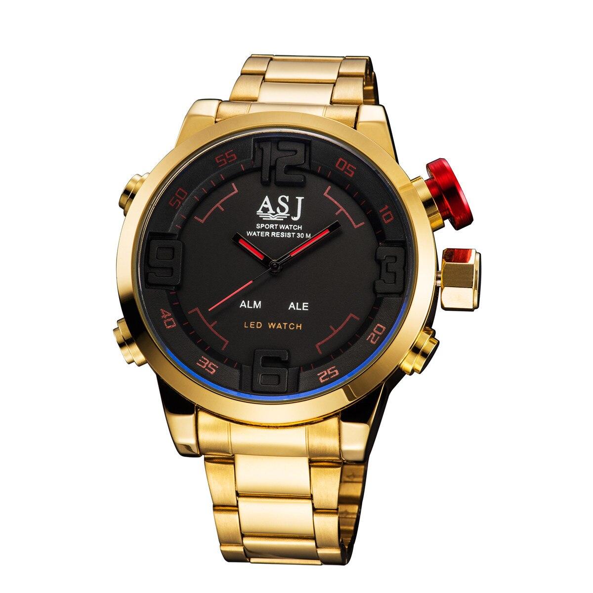 Asj Marken-männer Military Uhren Männer Luxury Gold Stahlband Quarzuhr Led-anzeige Sport Armbanduhren 50 Mt Wasserdicht