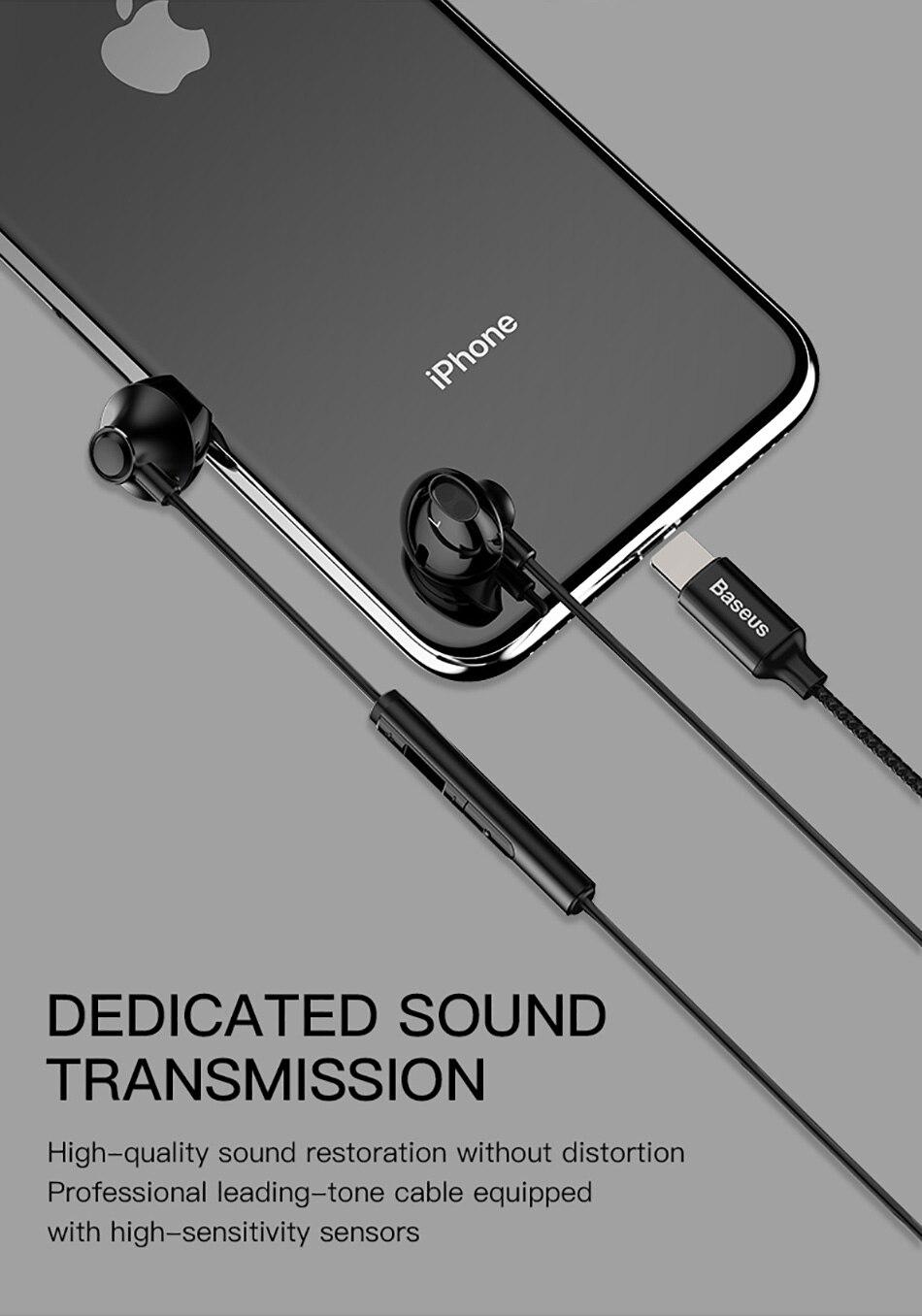 Baseus P06 Wired Stereo Earphone For iPhone X 8 7 Bass Sound Hifi ... cc6938827b296