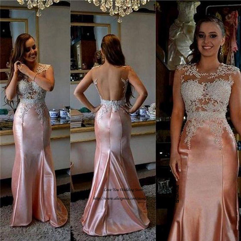 Vestidos de Gala Sexy Backless Prom Dresses 2017 Pink White Lace Mermaid Women Pageant Formal Evening