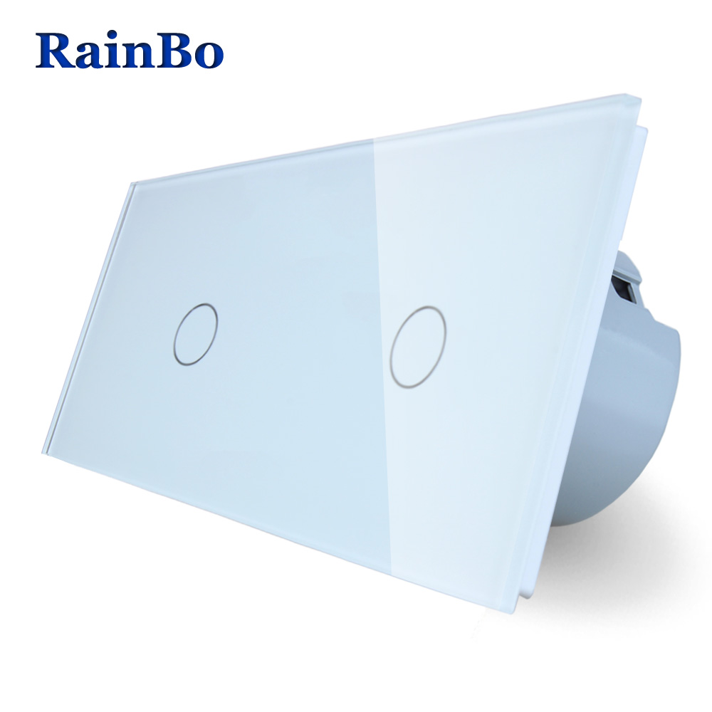 RainBo 2Frame Touch Switch Screen Crystal Glass Panel Switch EU Wall Switch  Light Switch  1gang1way+1gang1way A291111CW/B eu plug 1gang1way touch screen led dimmer light wall lamp switch not support livolo broadlink geeklink glass panel luxury switch