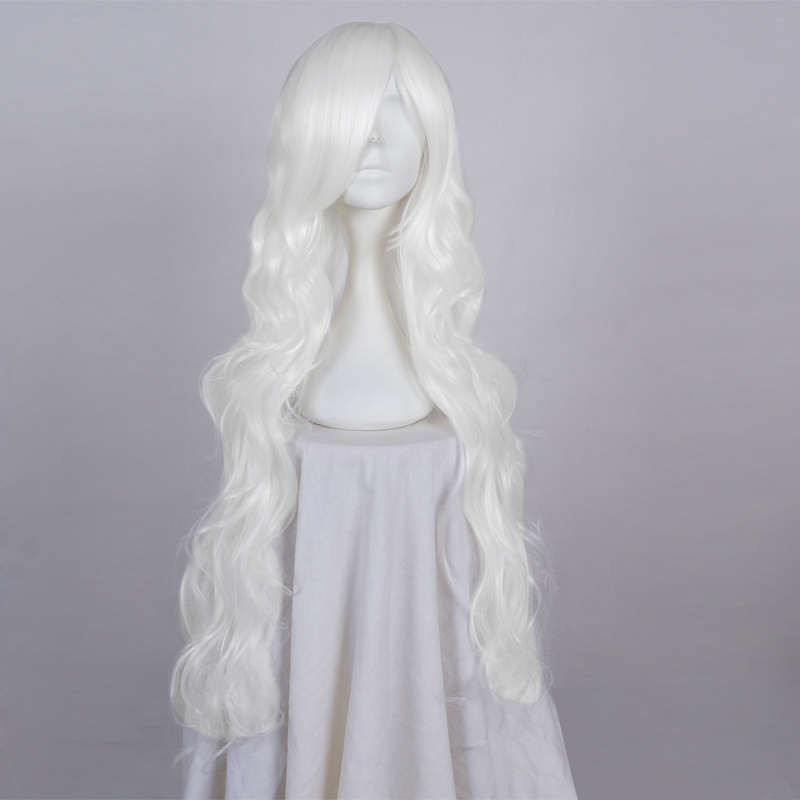 Aspiring 85cm Long White Curly Anime Daily Hair Cosplay Full Wig Heat Resistant+wig Cap Ample Supply And Prompt Delivery