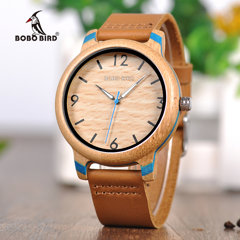 BOBO BIRD Bamboo Watches Leather band Watch Quartz Wristwatches Fashionable Timepieces for Men and Women C-aQ22 цена и фото