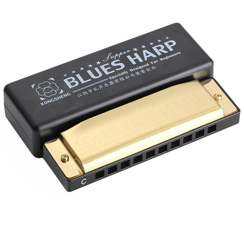 10 Holes Swan Harmonica Diatonic Blues Harp Woodwind Music Instrument Mouth Organ for Blues Rock Country Folk Jazz Melodica