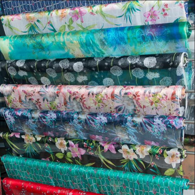 12 colour silk chiffon fabrics digital printing manual DIY dress silk scarf thin transparent printing textiles fabric C609