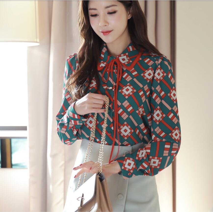 2019 nouveau printemps hauts Blouse Floral en mousseline de soie chemise à manches longues col claudine mode coréenne mode dames hauts