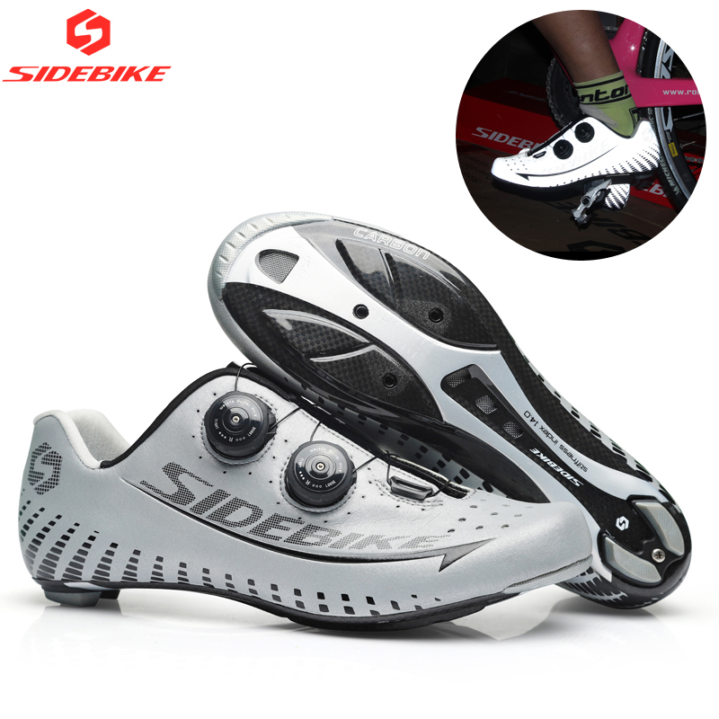 Sidebike 3M Reflectiv Carbon Ultralight Cycling Shoes self Locking Racing Bike Shoes Road Bike Athletic Riding