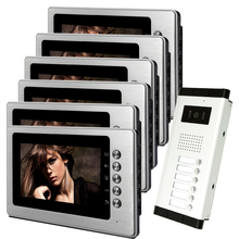FREE SHIPPING New 7″ Color Video Intercom Door Phone System With 6 Screen + 1 Outdoor Camera for 6 Family Apartment In Stock