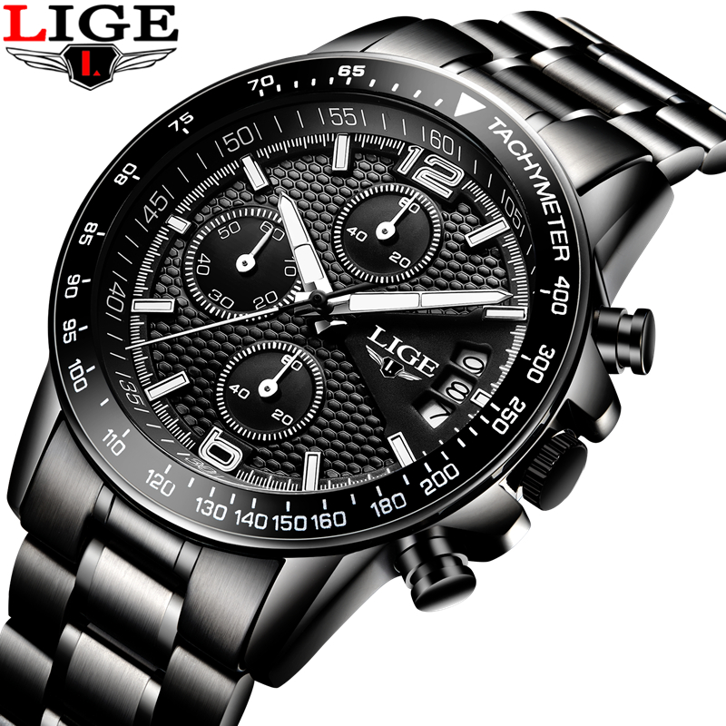 New LIGE Watches Men Luxury Brand Sport Waterproof Quartz Watch Men Full Stainless Steel Wristwatch Man Clock relogio masculino 2017 new top fashion time limited relogio masculino mans watches sale sport watch blacl waterproof case quartz man wristwatches