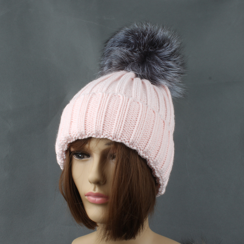 Winter Silver Fox Fur Hats For Women Ensfarget tykk Strikkede beanie - Klær tilbehør - Bilde 5