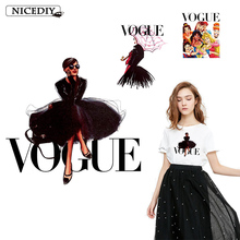 Nicediy VOGUE Iron On Patches For Clothes DIY Tshirt Clothing Fashion Patch Printed Thermal Transfer Sticker Stripe Nirvana