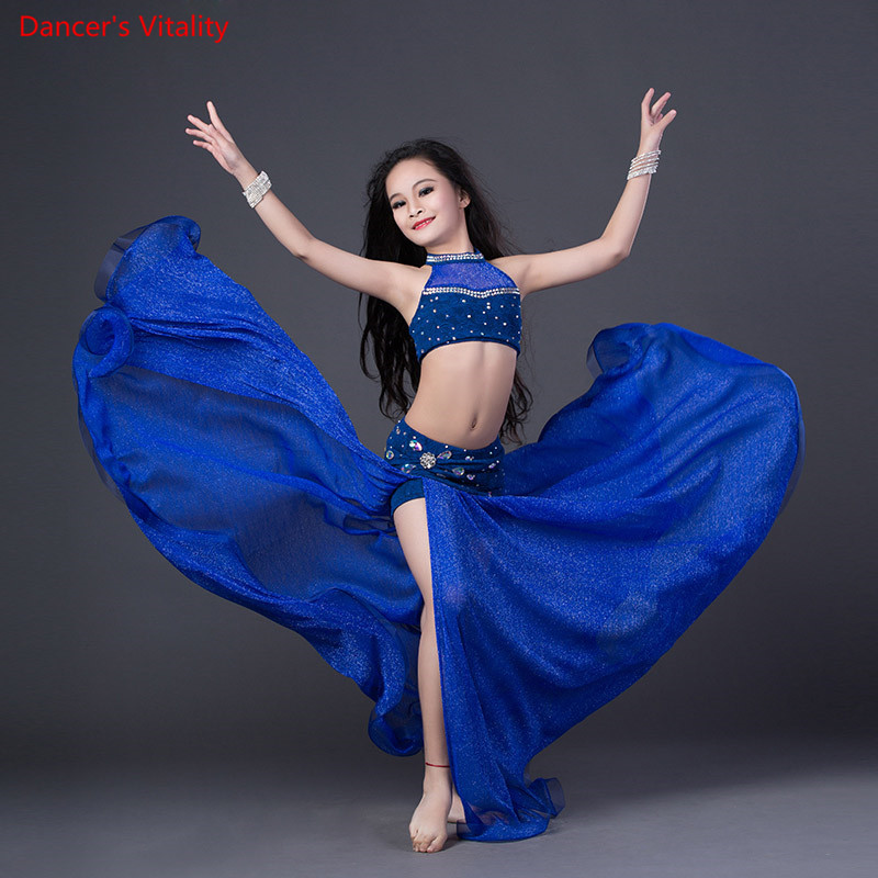 New Girls 2 Piece Set Belly Dance Costume Silk Luxury Top Long Skirts Children's Red Blue Performance Dress SML