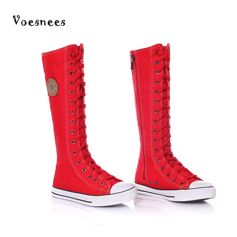 Women Shoes 2017 New Long Boots Canvas Side Zipper Dance Shoes Leisure Shoes Cheerleading Dance Boots Girl High Boots Shoess ...