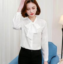 Vintage Striped Plaid Shirt Tops Ladies Elegant Sexy Bow Tie Long Sleeve White Chiffon Blouses Blusa Plus Size Slim Women Shirts