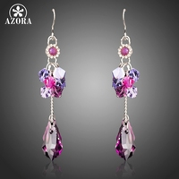 AZORA New Long Big Purple Austrian Crystals Drop Earrings for Women White Gold Color Fashion Jewelry Christmas Gift TE0288