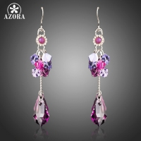 AZORA New Long Big Purple Austrian Crystals Drop Earrings For Women White Gold Color Fashion Jewelry