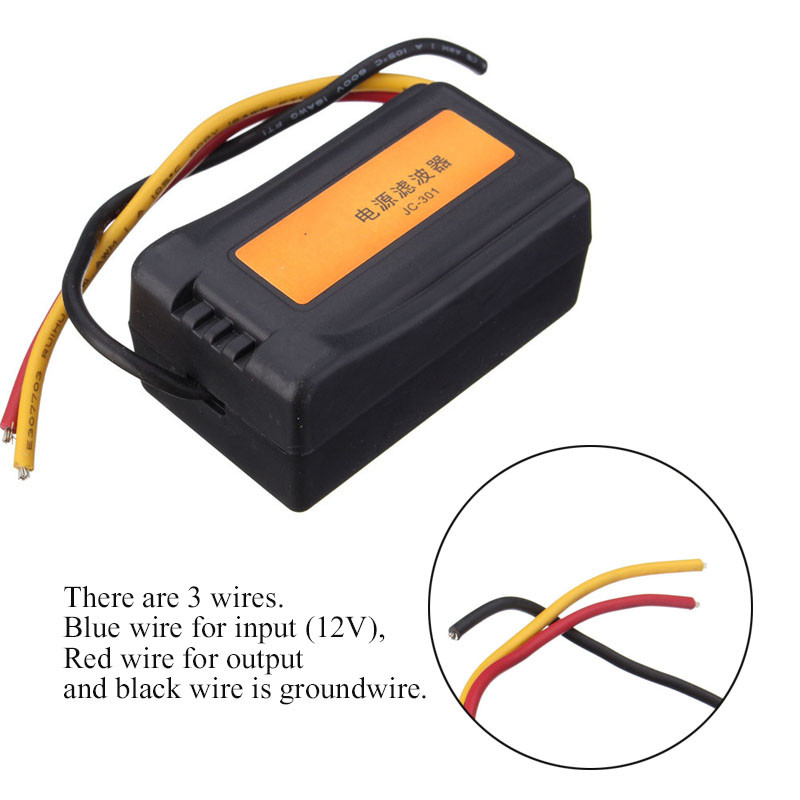 1 шт. DC 12 В блок питания Предварительно проводной черный пластик аудио фильтр питания для автомобиля VEA22P фильтрации