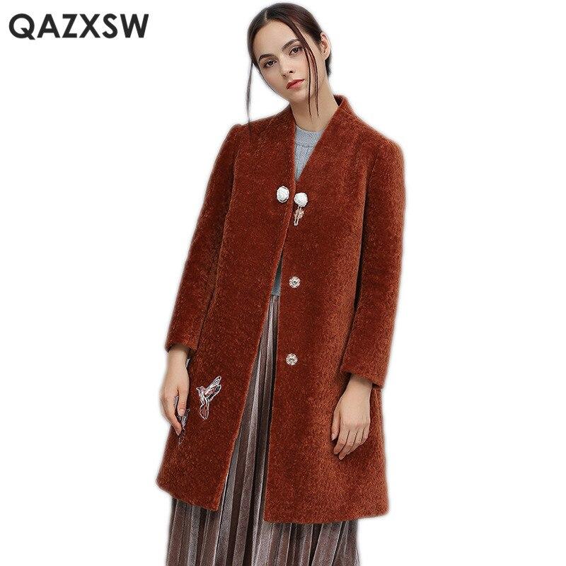Mujer Qazxsw Cachemire Vraie Wine Lh1285 Laine De Broderie Hiver Manteau Nouveau Femmes Oiseaux Mode Vestes Fourrure Abrigos Red 2019 SSxqwRZg
