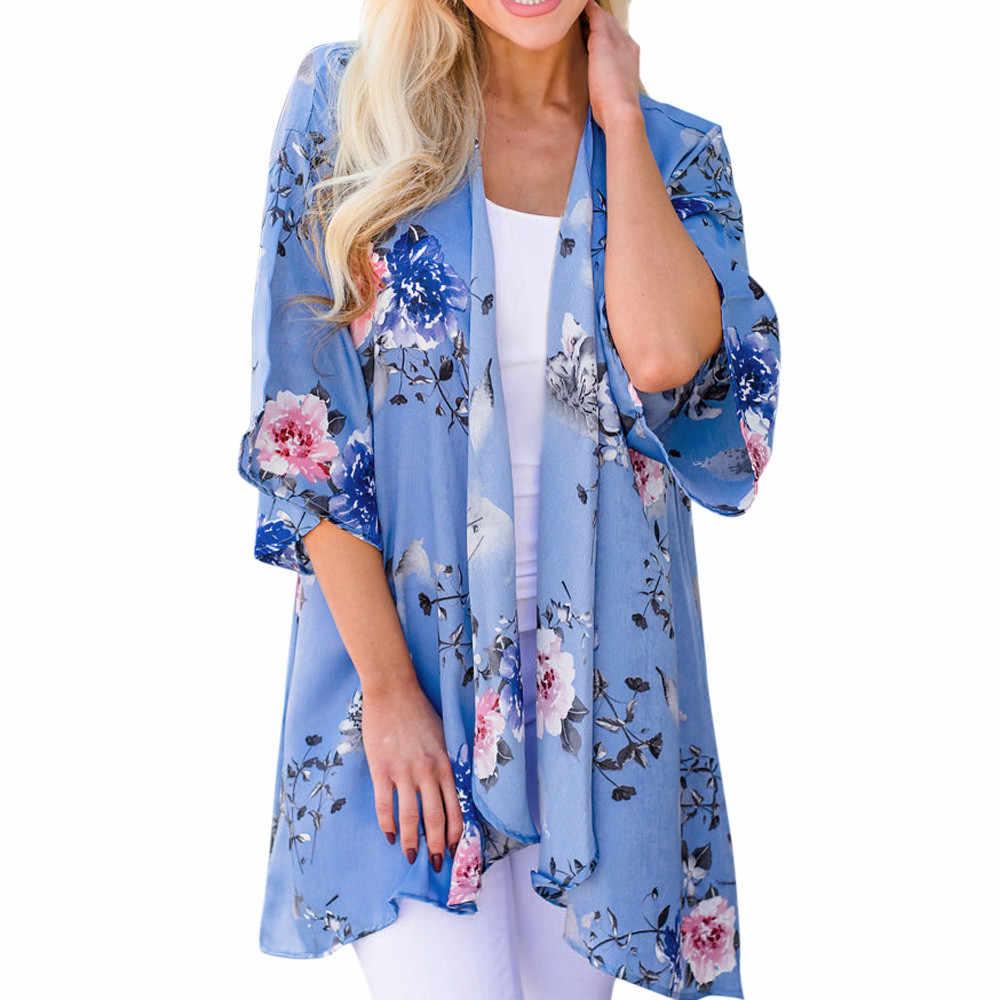 563daa2e86909 Vintage Kimono Cardigan Women Long Sleeve Floral Print Chiffon Loose Shawl  Tops Cover up Blouse Outwear