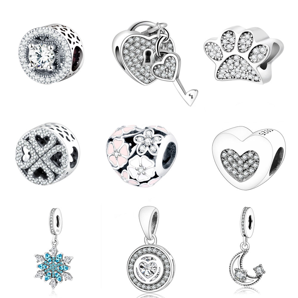 925 Sterling Silver Beads Fit Original Pandora Charms Bracelets Snowflake Dangle Charm With Clear Blue Cubic Zirconia Berloque