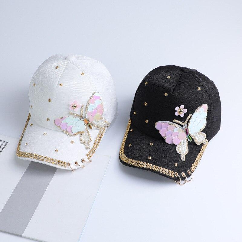 Summer Plain Cotton Women Metal Baseball Cap Snapback Hip Hop Caps 2018 Casual Butterfly Sequins Baseball Caps Hats