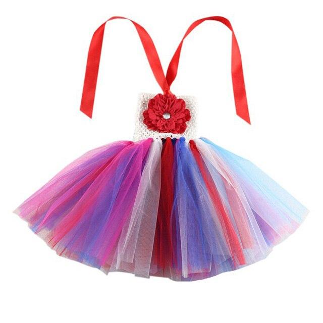 9027faf0ec7bc Enfant bébé petites filles arc-en-ciel Tutu robe enfants Crochet fleur  hauts vêtements