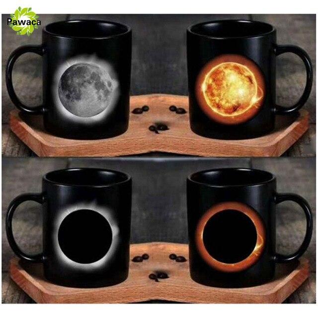 Creative Sun & Moon Magic Mug Positive Energy Color Changing Milk Cup Ceramic Discoloration Coffee Tea Milk Mugs Novelty Gifts