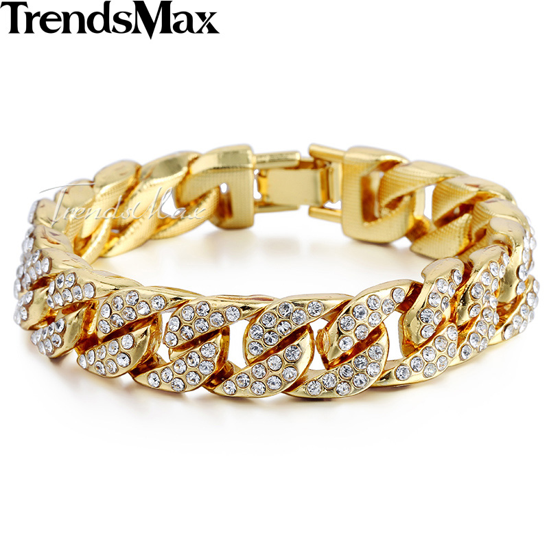 Trendsmax 14mm Bling Iced Out Curb Cuban Gold-color Bracelets