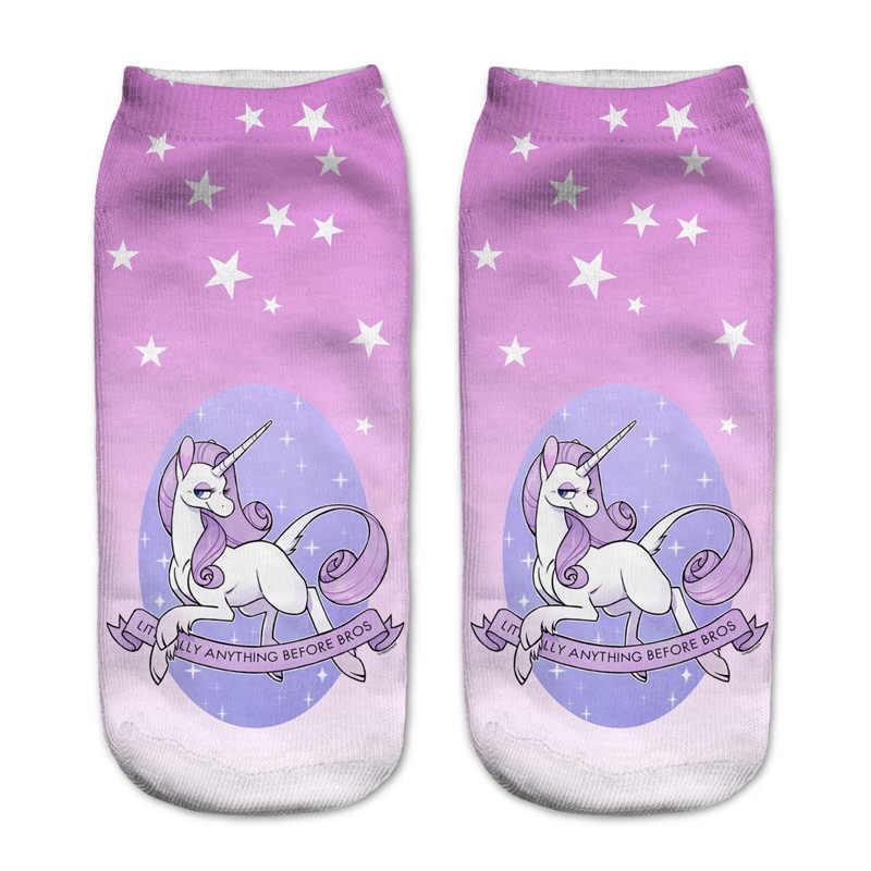 Для женщин Harajuku Пикачу 3D милые с единорогом Носки Low Cut лодыжки удобные чулочно-носочные изделия Meias Calcetiness Calzini Chaussette Femme