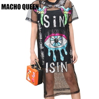 Harajuku Sequin Eye Patches Loose Shirt Dress Summer Women Rave Festival Clothes Dress Black Cartoon Bird