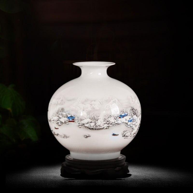 Jingdezhen White Ceramics Porcelain Vase Home Decoration Paintings Flower Vase Room  Decoration Furnishing Articles with Base vase