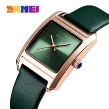 Часы наручные SKMEI женские кварцевые, брендовые Роскошные модные водонепроницаемые с кожаным ремешком