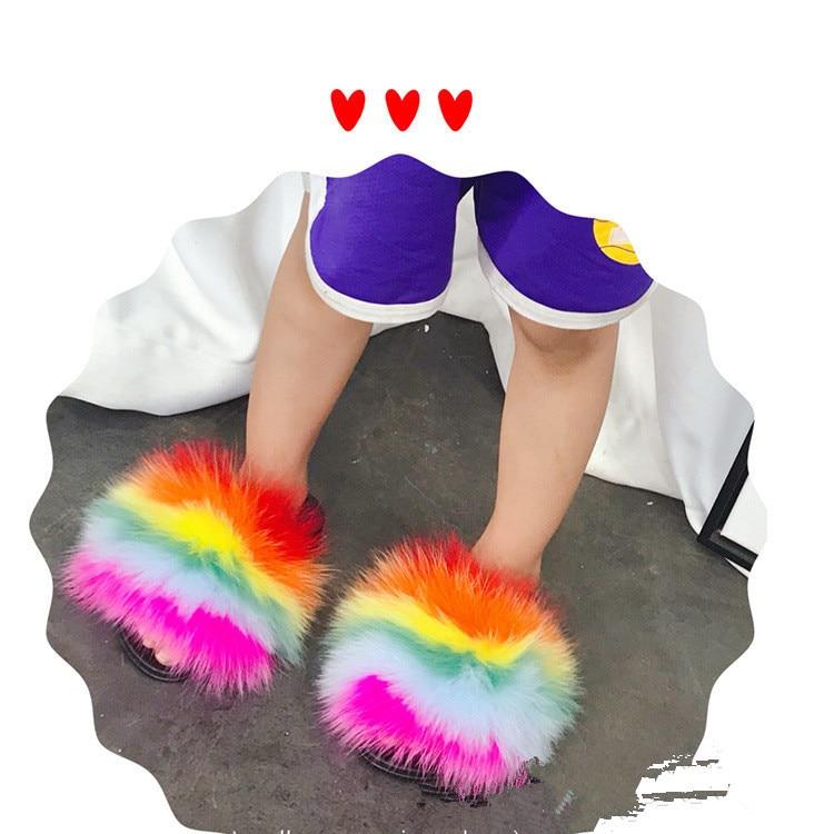 Atacado 100% Real Casa de Slides Meninas sliders Chinelos Crianças Criança Inverno da Pele de Raposa Guaxinim Fofo Chinelo Flats Praia Verão