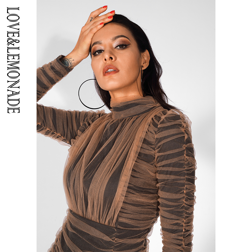 Love Lemonade Stand Collar Nude Mesh Pleated Stitching Long Sleeve Bodycon Dress LM81539