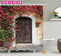 Wanderlust Decor Shower Curtain Set Old Wooden Door Surrounded By Flowers European Style Medieval Entrance Italy Artful Print Ba